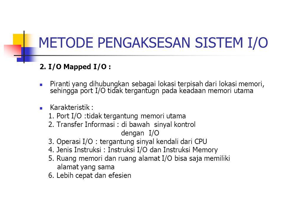 METODE PENGAKSESAN SISTEM I/O 2.