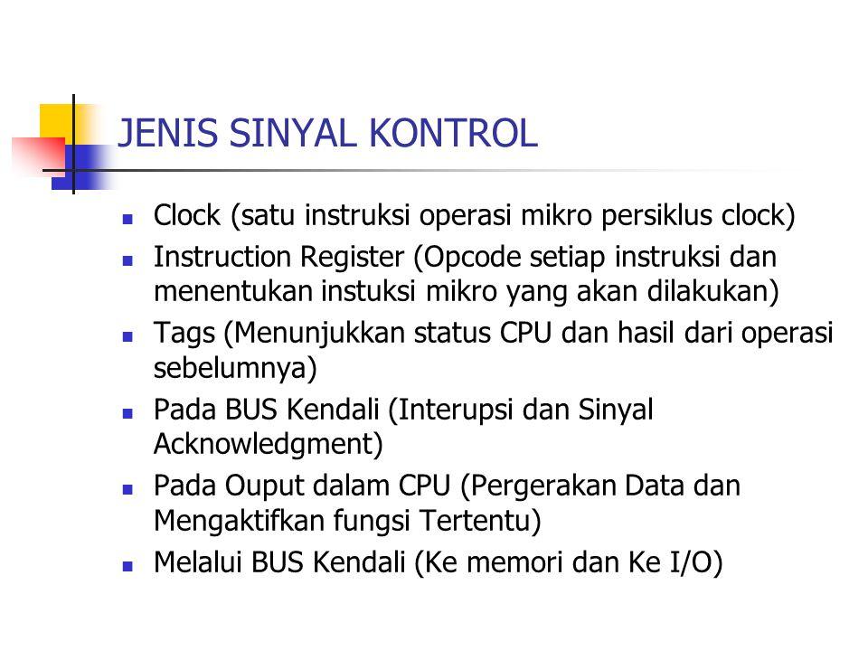 JENIS SINYAL KONTROL Clock (satu instruksi operasi mikro persiklus clock) Instruction Register (Opcode setiap instruksi dan menentukan instuksi mikro yang akan dilakukan) Tags (Menunjukkan status CPU dan hasil dari operasi sebelumnya) Pada BUS Kendali (Interupsi dan Sinyal Acknowledgment) Pada Ouput dalam CPU (Pergerakan Data dan Mengaktifkan fungsi Tertentu) Melalui BUS Kendali (Ke memori dan Ke I/O)