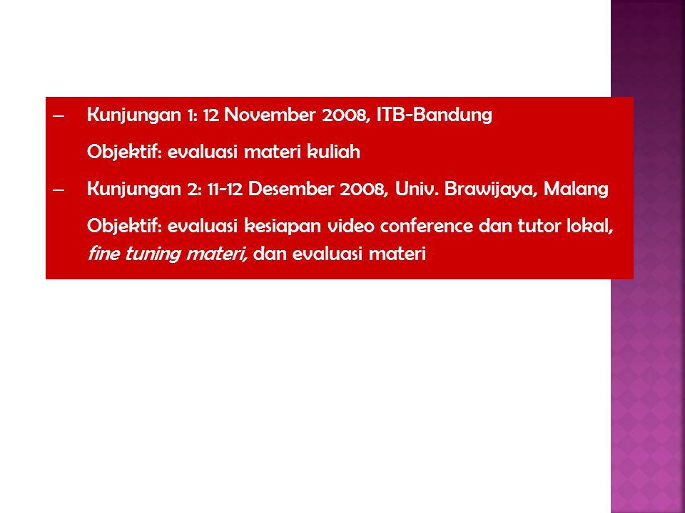 – Kunjungan 1: 12 November 2008, ITB-Bandung Objektif: evaluasi materi kuliah – Kunjungan 2: 11-12 Desember 2008, Univ. Brawijaya, Malang Objektif: ev