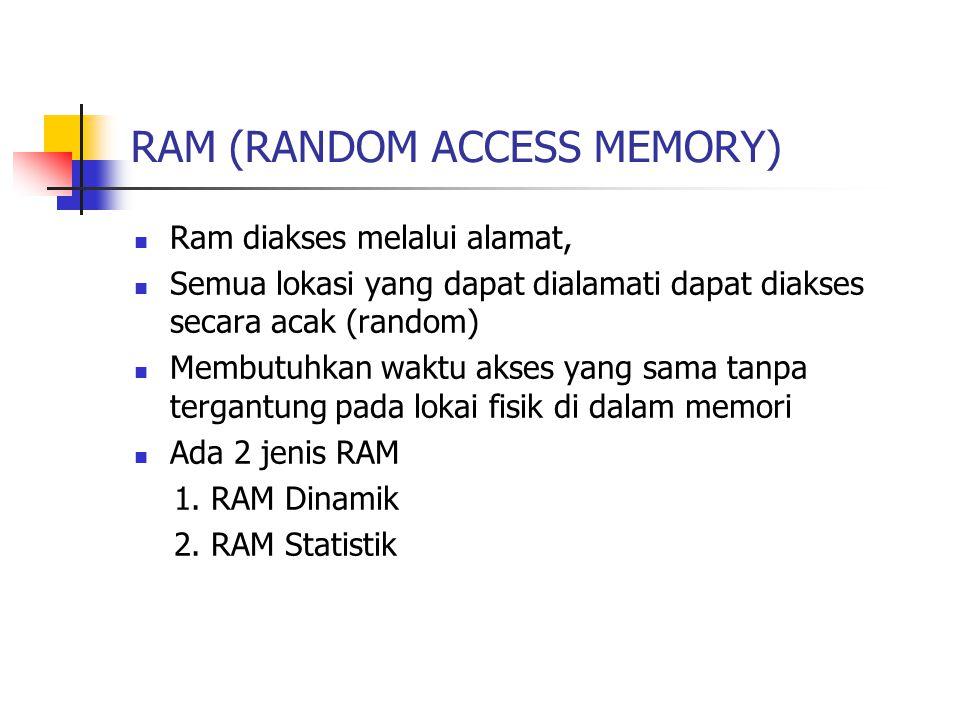RAM (RANDOM ACCESS MEMORY) Ram diakses melalui alamat, Semua lokasi yang dapat dialamati dapat diakses secara acak (random) Membutuhkan waktu akses ya