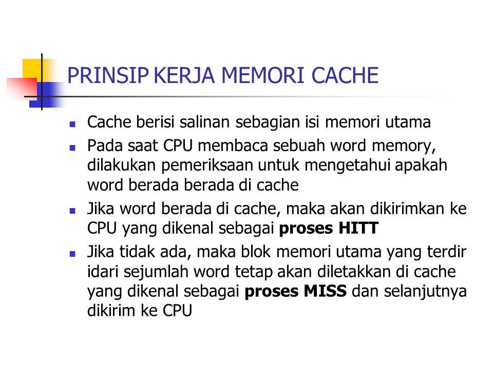 PRINSIP KERJA MEMORI CACHE Cache berisi salinan sebagian isi memori utama Pada saat CPU membaca sebuah word memory, dilakukan pemeriksaan untuk menget