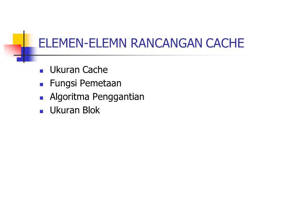 ELEMEN-ELEMN RANCANGAN CACHE Ukuran Cache Fungsi Pemetaan Algoritma Penggantian Ukuran Blok
