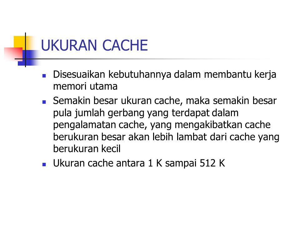 UKURAN CACHE Disesuaikan kebutuhannya dalam membantu kerja memori utama Semakin besar ukuran cache, maka semakin besar pula jumlah gerbang yang terdap
