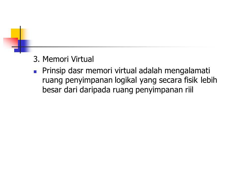 3. Memori Virtual Prinsip dasr memori virtual adalah mengalamati ruang penyimpanan logikal yang secara fisik lebih besar dari daripada ruang penyimpan