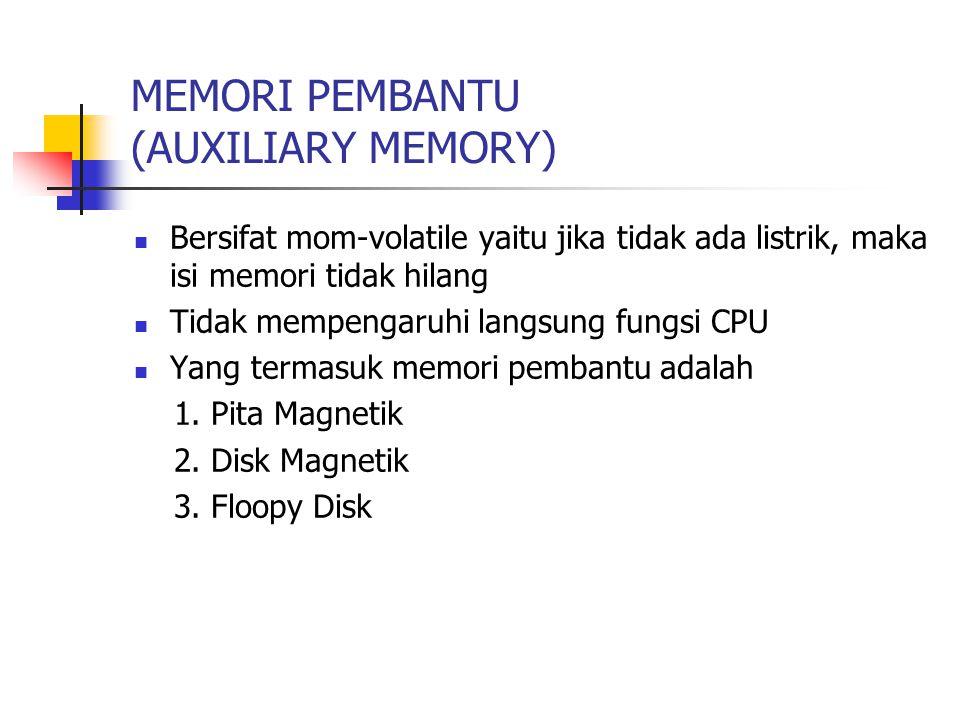 MEMORI PEMBANTU (AUXILIARY MEMORY) Bersifat mom-volatile yaitu jika tidak ada listrik, maka isi memori tidak hilang Tidak mempengaruhi langsung fungsi