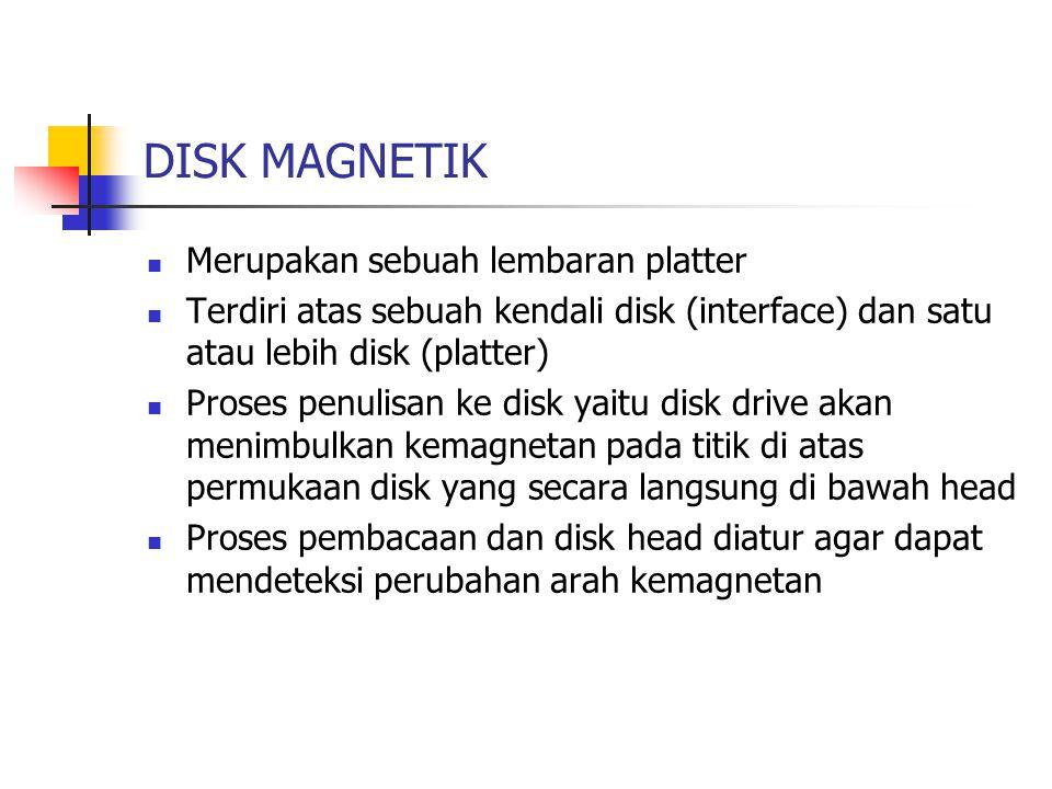 DISK MAGNETIK Merupakan sebuah lembaran platter Terdiri atas sebuah kendali disk (interface) dan satu atau lebih disk (platter) Proses penulisan ke di