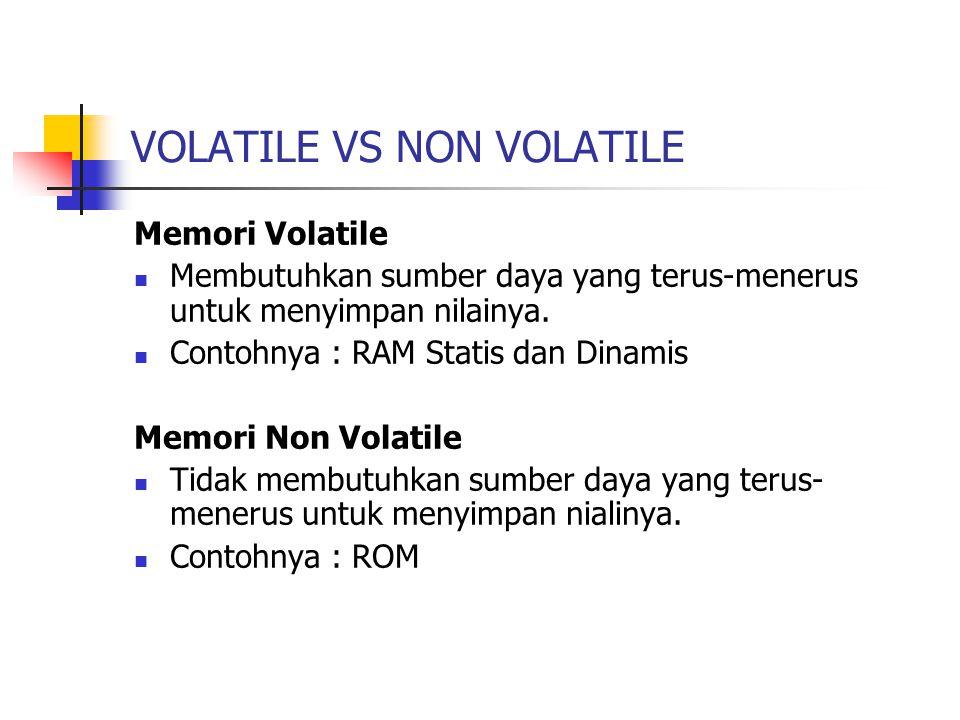 VOLATILE VS NON VOLATILE Memori Volatile Membutuhkan sumber daya yang terus-menerus untuk menyimpan nilainya. Contohnya : RAM Statis dan Dinamis Memor