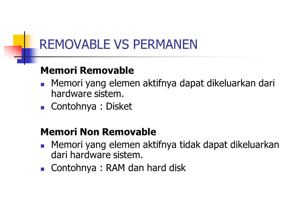 REMOVABLE VS PERMANEN Memori Removable Memori yang elemen aktifnya dapat dikeluarkan dari hardware sistem. Contohnya : Disket Memori Non Removable Mem