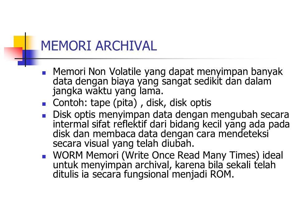 MEMORI ARCHIVAL Memori Non Volatile yang dapat menyimpan banyak data dengan biaya yang sangat sedikit dan dalam jangka waktu yang lama. Contoh: tape (