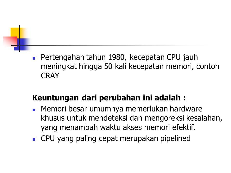 Pertengahan tahun 1980, kecepatan CPU jauh meningkat hingga 50 kali kecepatan memori, contoh CRAY Keuntungan dari perubahan ini adalah : Memori besar