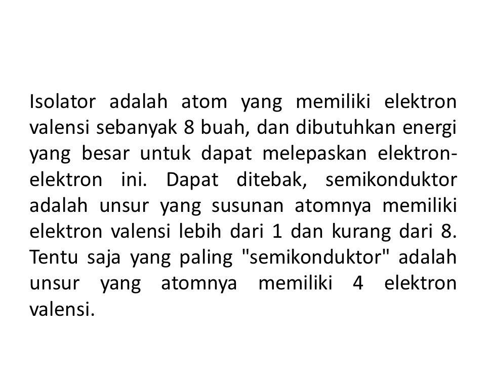 Isolator adalah atom yang memiliki elektron valensi sebanyak 8 buah, dan dibutuhkan energi yang besar untuk dapat melepaskan elektron- elektron ini. D