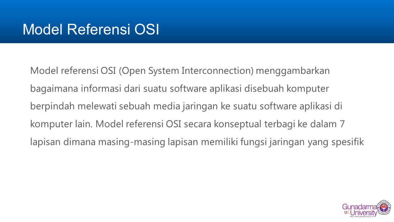 Model Referensi OSI Model referensi OSI (Open System Interconnection) menggambarkan bagaimana informasi dari suatu software aplikasi disebuah komputer