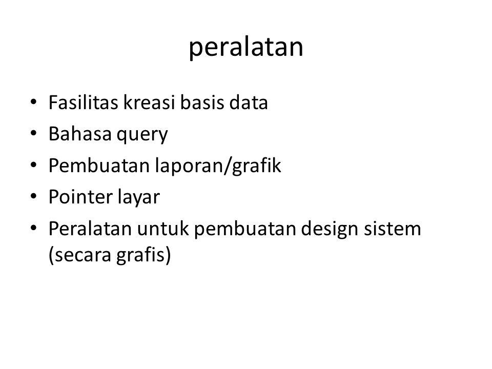 peralatan Fasilitas kreasi basis data Bahasa query Pembuatan laporan/grafik Pointer layar Peralatan untuk pembuatan design sistem (secara grafis)