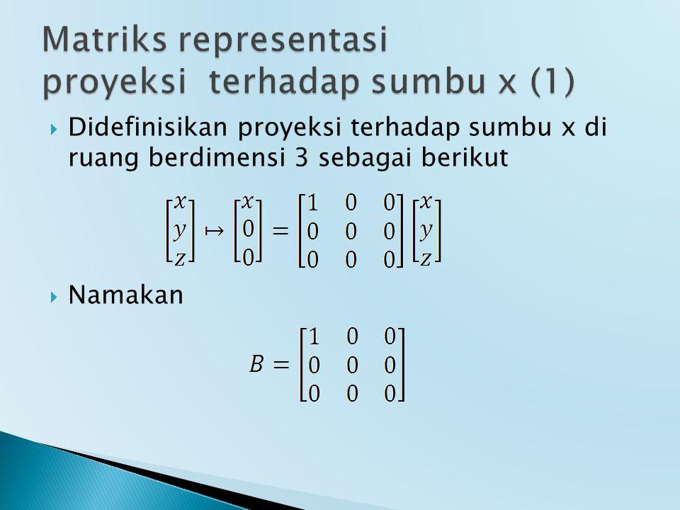  Didefinisikan proyeksi terhadap sumbu x di ruang berdimensi 3 sebagai berikut  Namakan