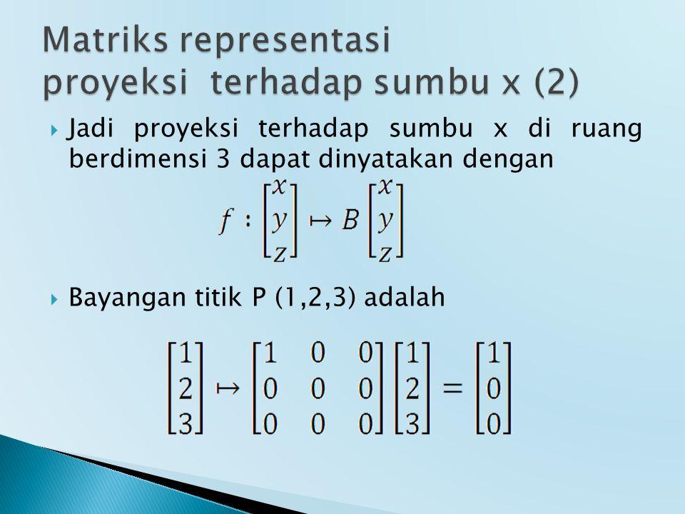  Jadi proyeksi terhadap sumbu x di ruang berdimensi 3 dapat dinyatakan dengan  Bayangan titik P (1,2,3) adalah