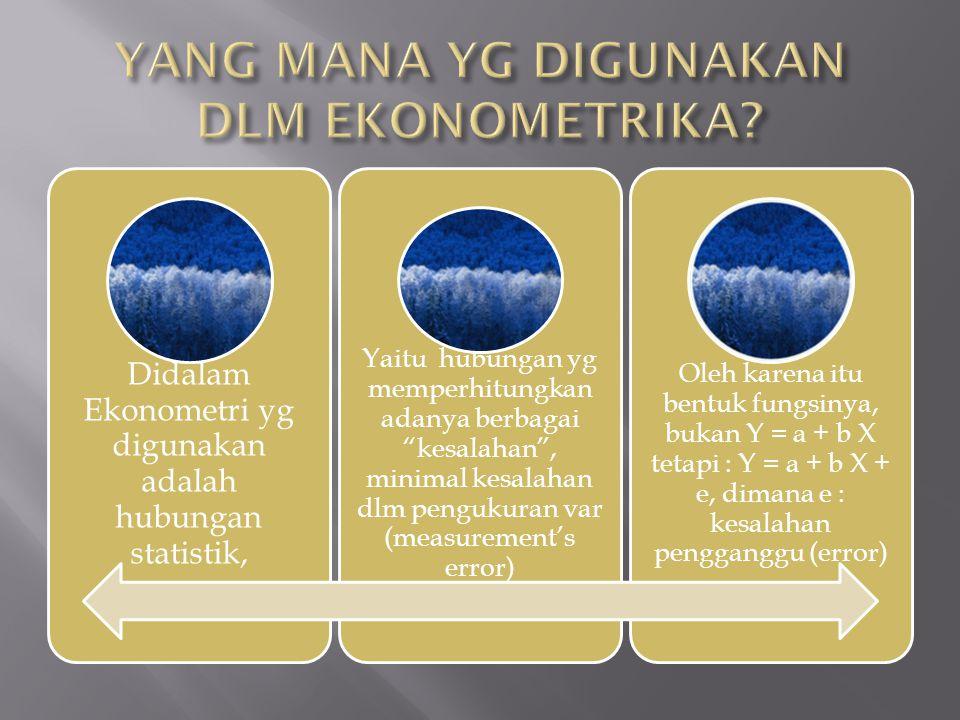 "Didalam Ekonometri yg digunakan adalah hubungan statistik, Yaitu hubungan yg memperhitungkan adanya berbagai ""kesalahan"", minimal kesalahan dlm penguk"