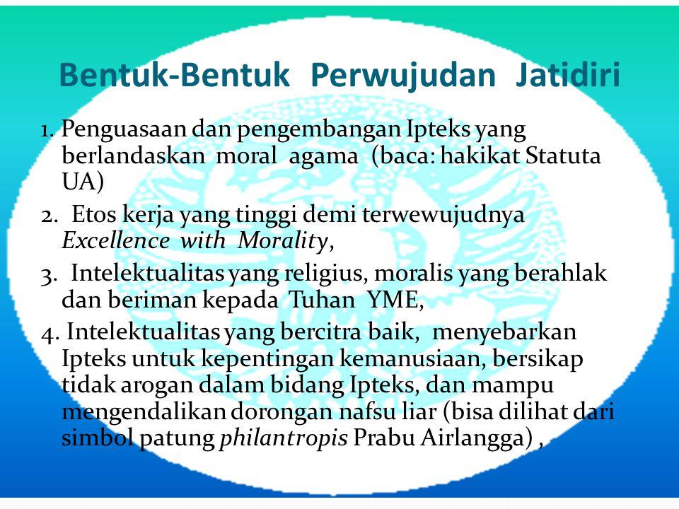 Bentuk-Bentuk Perwujudan Jatidiri 1. Penguasaan dan pengembangan Ipteks yang berlandaskan moral agama (baca: hakikat Statuta UA) 2. Etos kerja yang ti