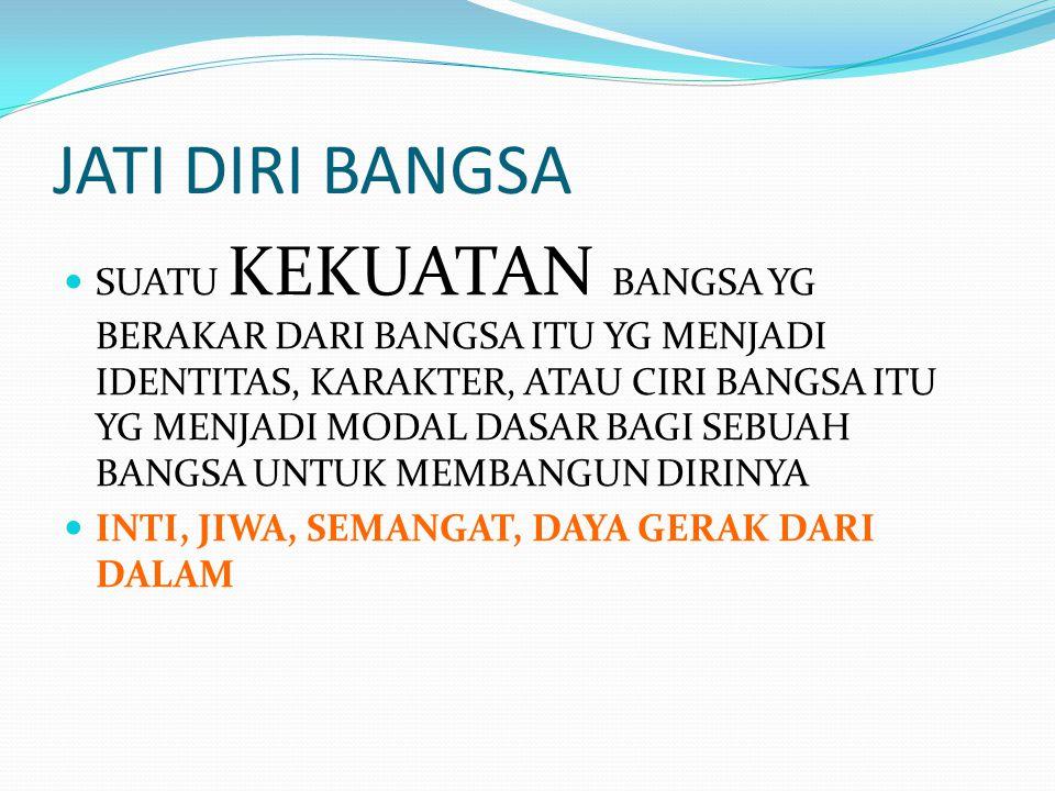JATI DIRI KONTEKS KEINDONESIAAN  Jati Diri Bangsa Indonesia haruslah bersumber pada NILAI-NILAI PANCASILAPANCASILA  NILAI-NILAI PANCASILA itu meliputi : (1).