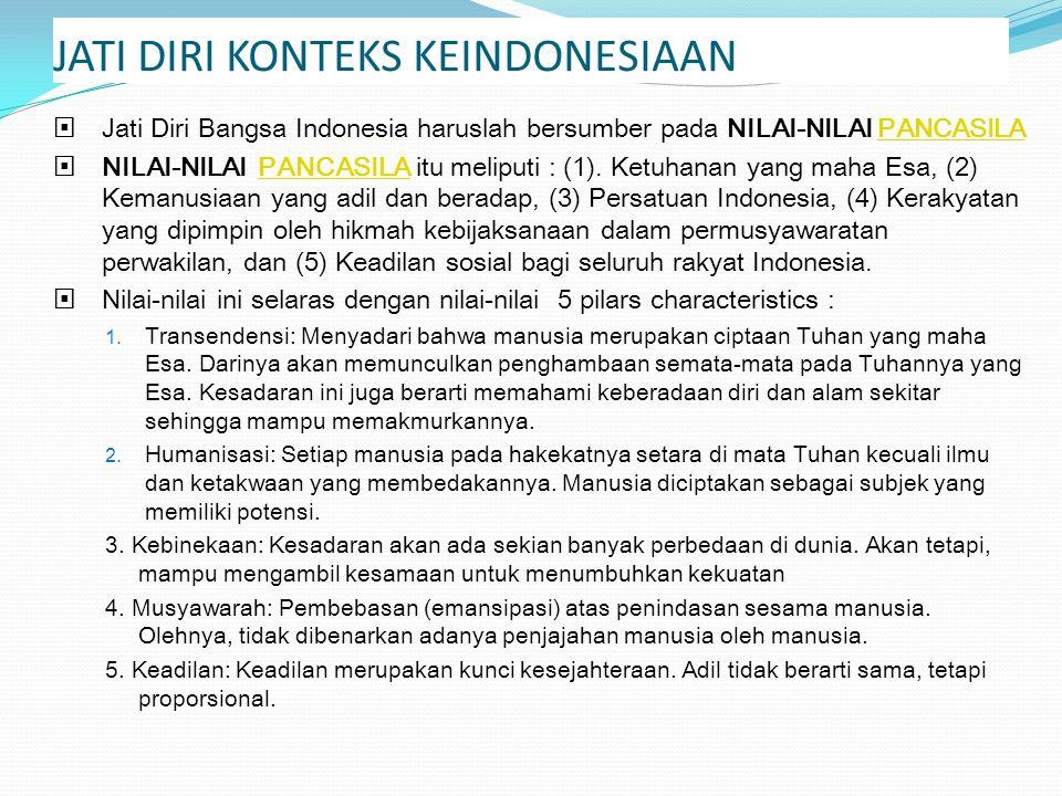 JATI DIRI KONTEKS KEINDONESIAAN  Jati Diri Bangsa Indonesia haruslah bersumber pada NILAI-NILAI PANCASILAPANCASILA  NILAI-NILAI PANCASILA itu melipu