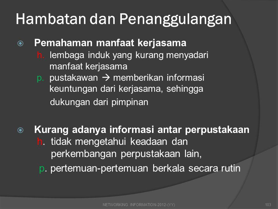 Hambatan dan Penanggulangan  Pemahaman manfaat kerjasama h. lembaga induk yang kurang menyadari manfaat kerjasama p. pustakawan  memberikan informas