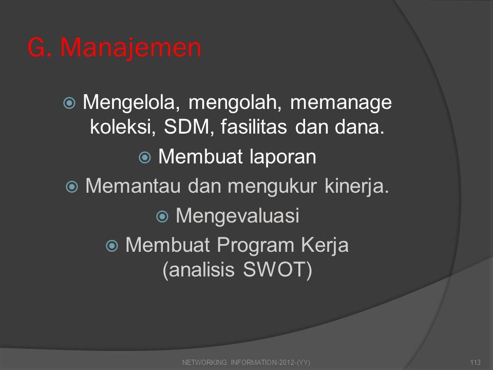 G. Manajemen  Mengelola, mengolah, memanage koleksi, SDM, fasilitas dan dana.  Membuat laporan  Memantau dan mengukur kinerja.  Mengevaluasi  Mem
