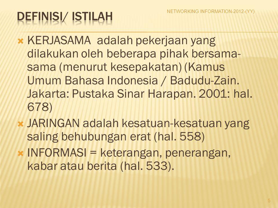  KERJASAMA adalah pekerjaan yang dilakukan oleh beberapa pihak bersama- sama (menurut kesepakatan) (Kamus Umum Bahasa Indonesia / Badudu-Zain. Jakart