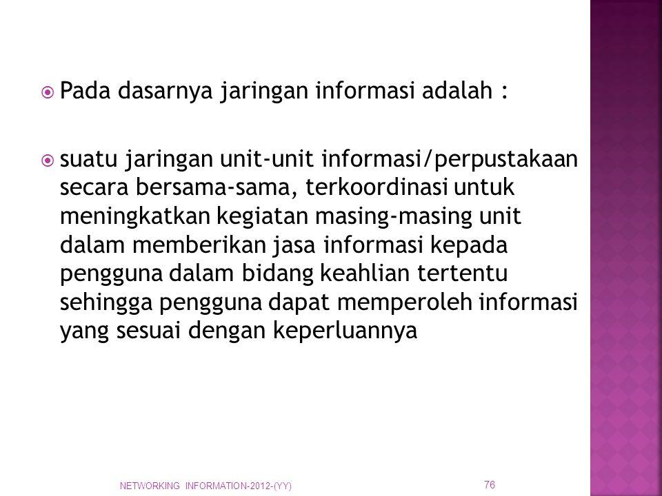  Pada dasarnya jaringan informasi adalah :  suatu jaringan unit-unit informasi/perpustakaan secara bersama-sama, terkoordinasi untuk meningkatkan ke