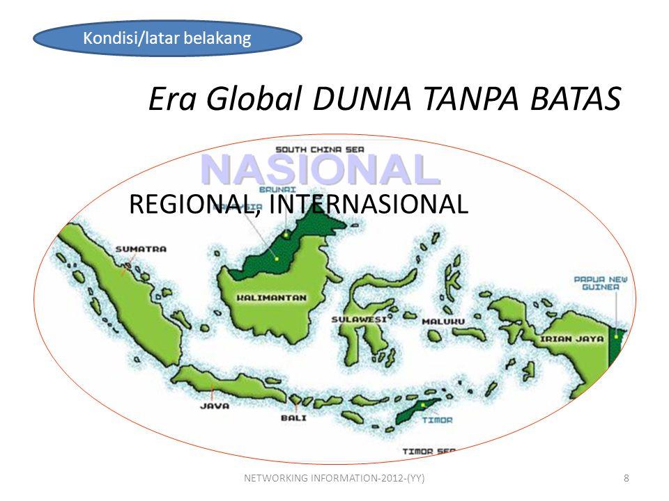 Era Global DUNIA TANPA BATAS REGIONAL, INTERNASIONAL Kondisi/latar belakang 8NETWORKING INFORMATION-2012-(YY)