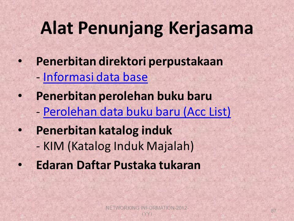 Alat Penunjang Kerjasama Penerbitan direktori perpustakaan - Informasi data baseInformasi data base Penerbitan perolehan buku baru - Perolehan data bu