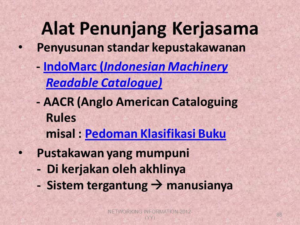 Alat Penunjang Kerjasama Penyusunan standar kepustakawanan - IndoMarc (Indonesian Machinery Readable Catalogue)IndoMarc (Indonesian MachineryReadable