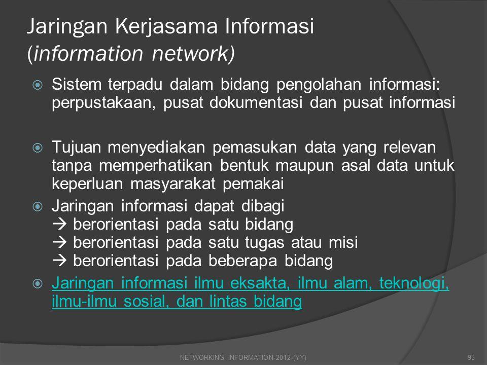 Jaringan Kerjasama Informasi (information network)  Sistem terpadu dalam bidang pengolahan informasi: perpustakaan, pusat dokumentasi dan pusat infor