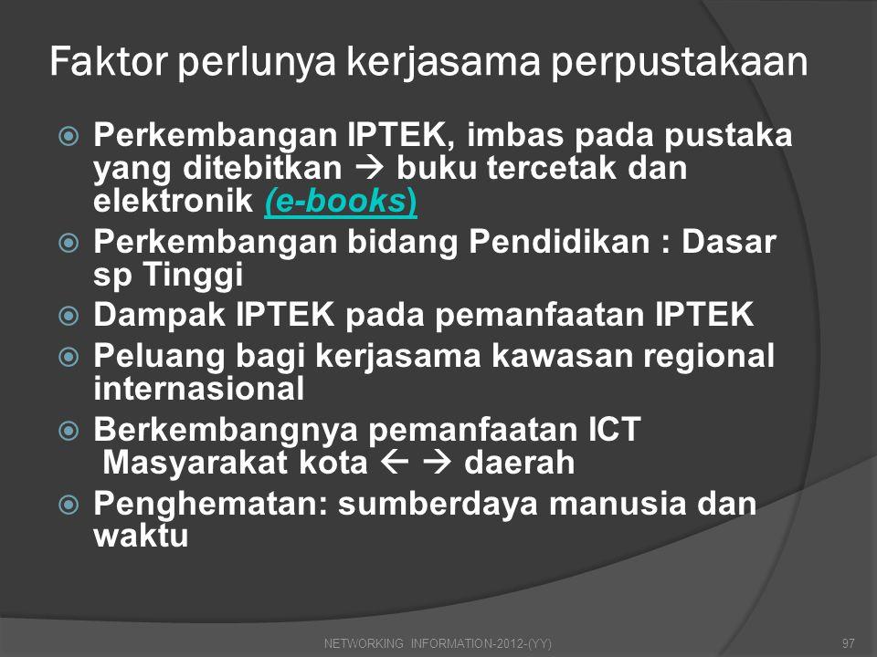 Faktor perlunya kerjasama perpustakaan  Perkembangan IPTEK, imbas pada pustaka yang ditebitkan  buku tercetak dan elektronik (e-books)(e-books)  Pe