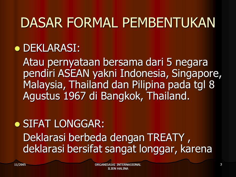 ORGANISASAI INTERNASIONAL ILIEN HALINA 4 11/2005 TUJUAN Mempercepat pertumbuhan ekonomi, kemajuan sosial dan pengembangan kebudayaan melalui usaha bersama sebagai dasar suatu kawasan Asia Tenggara yang makmur.