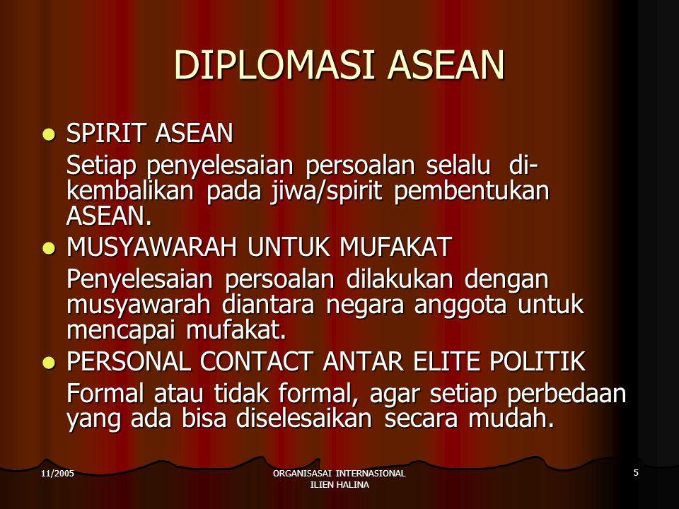 ORGANISASAI INTERNASIONAL ILIEN HALINA 5 11/2005 DIPLOMASI ASEAN SPIRIT ASEAN SPIRIT ASEAN Setiap penyelesaian persoalan selalu di- kembalikan pada jiwa/spirit pembentukan ASEAN.