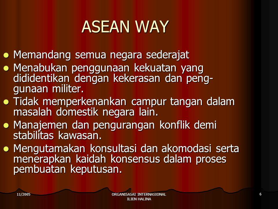 ORGANISASAI INTERNASIONAL ILIEN HALINA 6 11/2005 ASEAN WAY Memandang semua negara sederajat Memandang semua negara sederajat Menabukan penggunaan kekuatan yang dididentikan dengan kekerasan dan peng- gunaan militer.