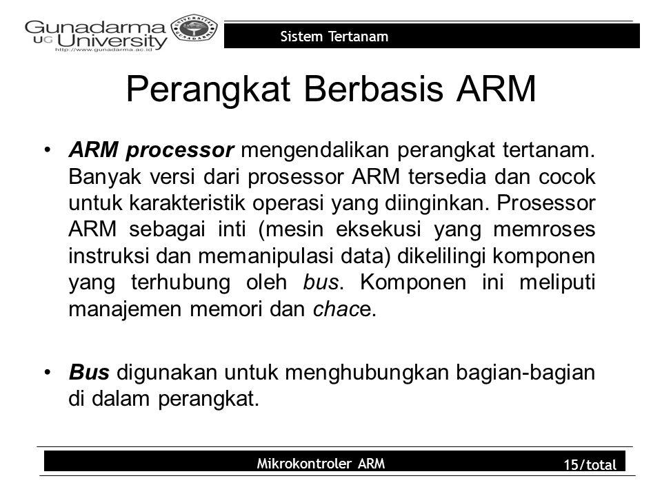 Sistem Tertanam Mikrokontroler ARM 15/total Perangkat Berbasis ARM ARM processor mengendalikan perangkat tertanam. Banyak versi dari prosessor ARM ter