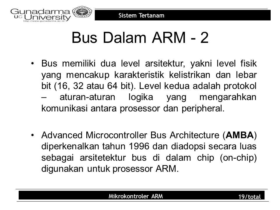 Sistem Tertanam Mikrokontroler ARM 19/total Bus Dalam ARM - 2 Bus memiliki dua level arsitektur, yakni level fisik yang mencakup karakteristik kelistr