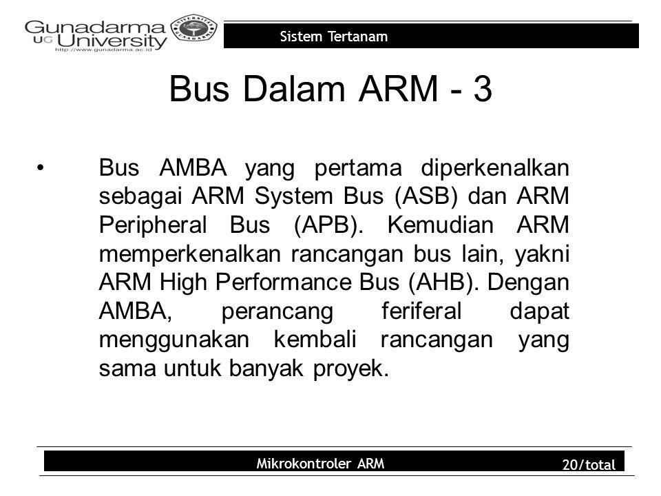 Sistem Tertanam Mikrokontroler ARM 20/total Bus Dalam ARM - 3 Bus AMBA yang pertama diperkenalkan sebagai ARM System Bus (ASB) dan ARM Peripheral Bus