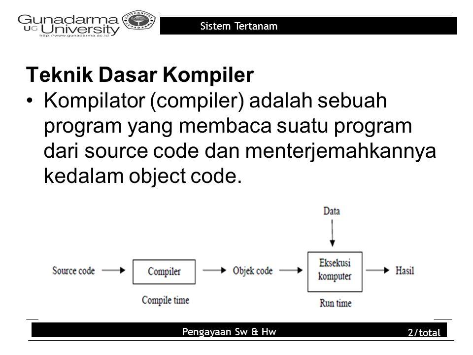 Sistem Tertanam Teknik Dasar Kompiler Kompilator (compiler) adalah sebuah program yang membaca suatu program dari source code dan menterjemahkannya kedalam object code.