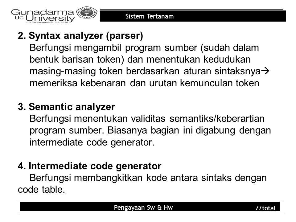 Sistem Tertanam 2. Syntax analyzer (parser) Berfungsi mengambil program sumber (sudah dalam bentuk barisan token) dan menentukan kedudukan masing-masi