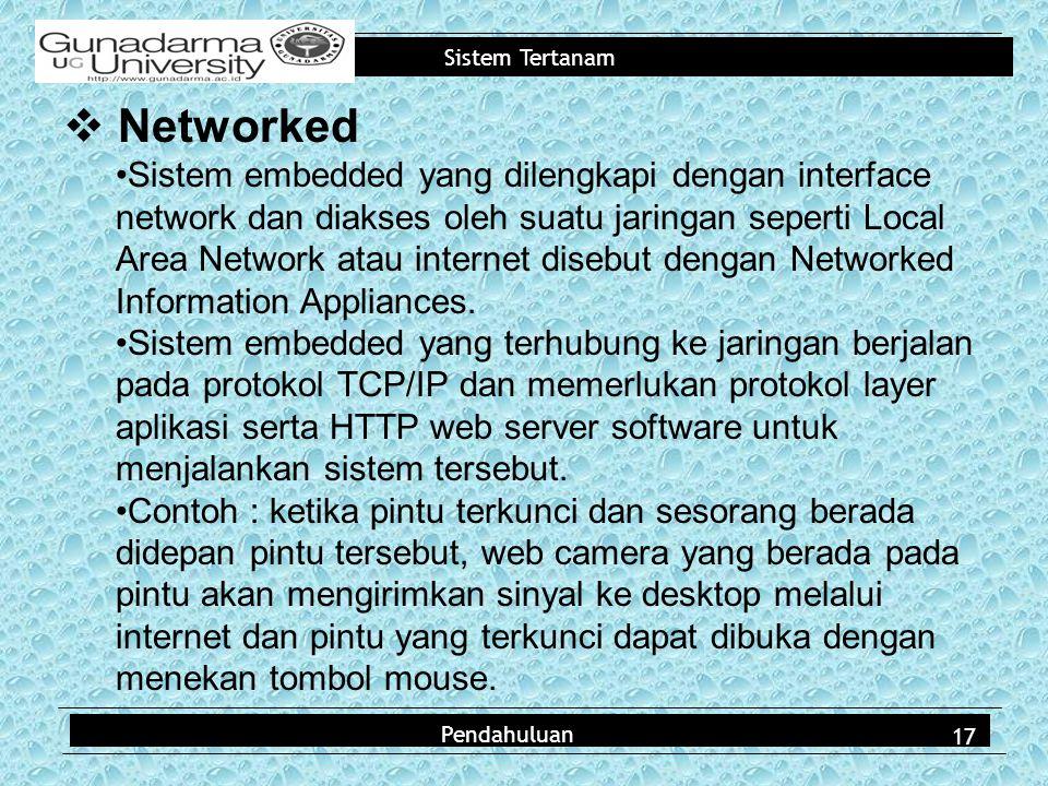 Sistem Tertanam Pendahuluan  Networked Sistem embedded yang dilengkapi dengan interface network dan diakses oleh suatu jaringan seperti Local Area Network atau internet disebut dengan Networked Information Appliances.