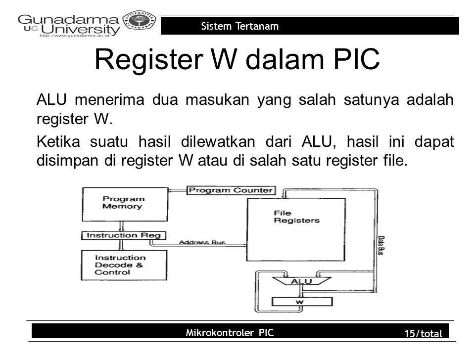 Sistem Tertanam Mikrokontroler PIC 15/total Register W dalam PIC ALU menerima dua masukan yang salah satunya adalah register W.