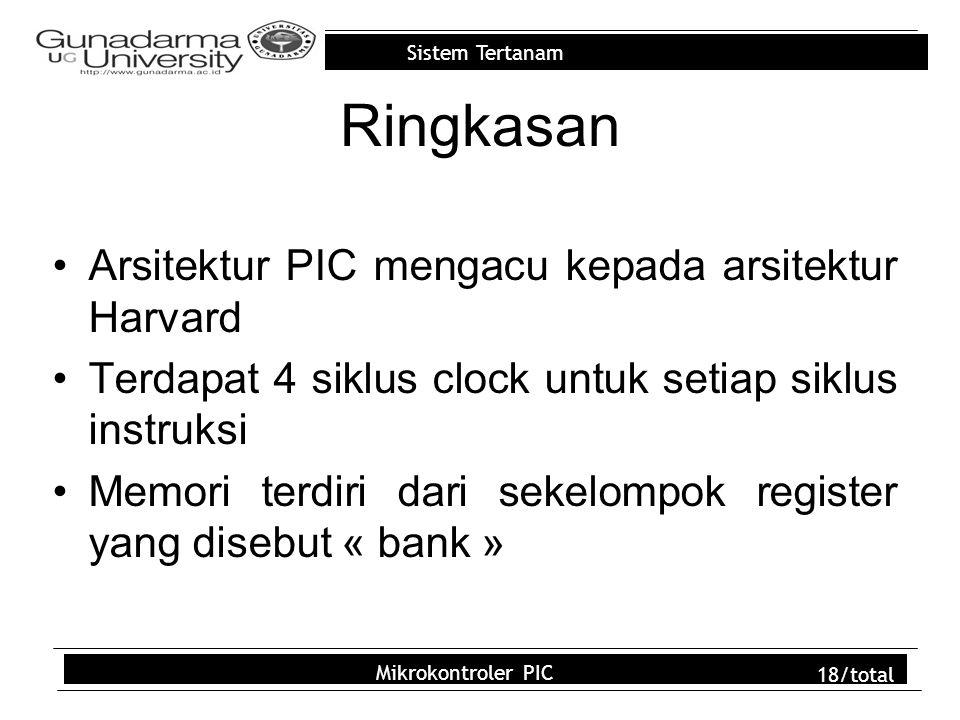 Sistem Tertanam Mikrokontroler PIC 18/total Ringkasan Arsitektur PIC mengacu kepada arsitektur Harvard Terdapat 4 siklus clock untuk setiap siklus instruksi Memori terdiri dari sekelompok register yang disebut « bank »