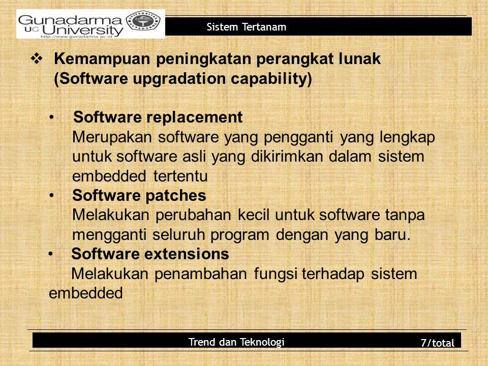 Sistem Tertanam  Kemampuan peningkatan perangkat lunak (Software upgradation capability) Software replacement Merupakan software yang pengganti yang
