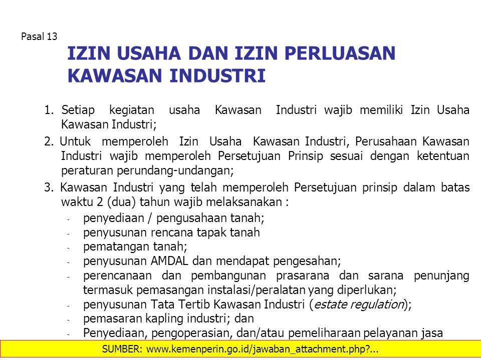 IZIN USAHA DAN IZIN PERLUASAN KAWASAN INDUSTRI 1. Setiap kegiatan usaha Kawasan Industri wajib memiliki Izin Usaha Kawasan Industri; 2. Untuk memperol