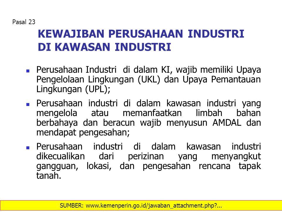 KEWAJIBAN PERUSAHAAN INDUSTRI DI KAWASAN INDUSTRI Perusahaan Industri di dalam KI, wajib memiliki Upaya Pengelolaan Lingkungan (UKL) dan Upaya Pemanta