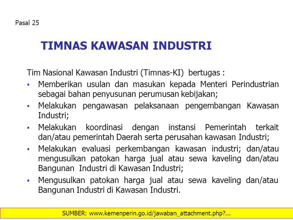 TIMNAS KAWASAN INDUSTRI Tim Nasional Kawasan Industri (Timnas-KI) bertugas :  Memberikan usulan dan masukan kepada Menteri Perindustrian sebagai baha