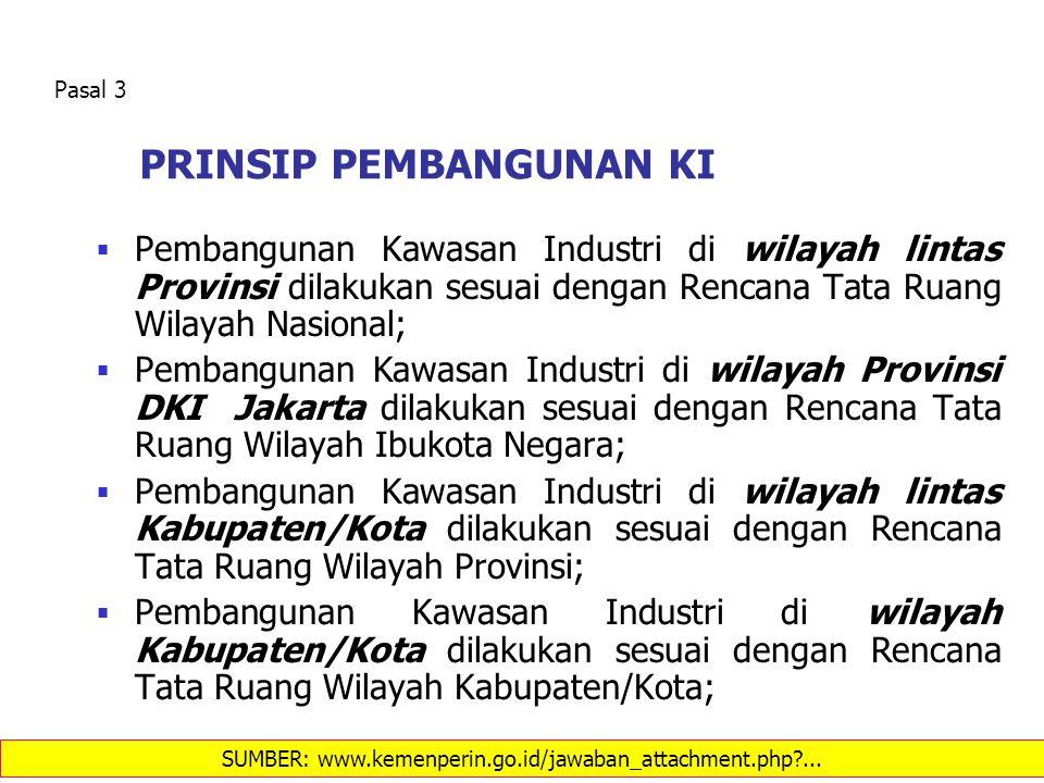 PRINSIP PEMBANGUNAN KI  Pembangunan Kawasan Industri di wilayah lintas Provinsi dilakukan sesuai dengan Rencana Tata Ruang Wilayah Nasional;  Pemban