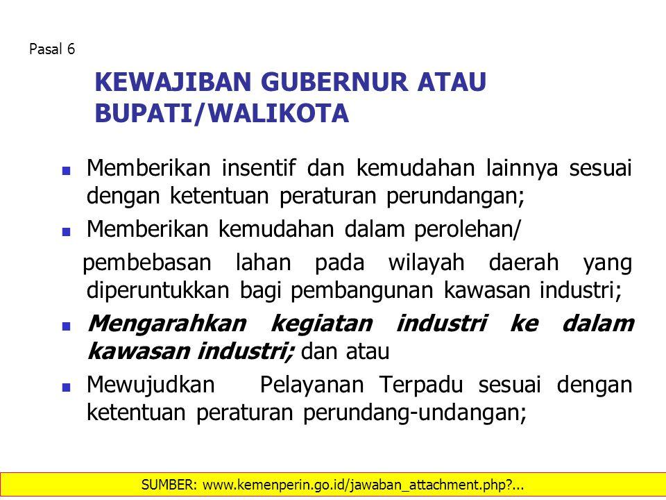 KEWAJIBAN GUBERNUR ATAU BUPATI/WALIKOTA Memberikan insentif dan kemudahan lainnya sesuai dengan ketentuan peraturan perundangan; Memberikan kemudahan