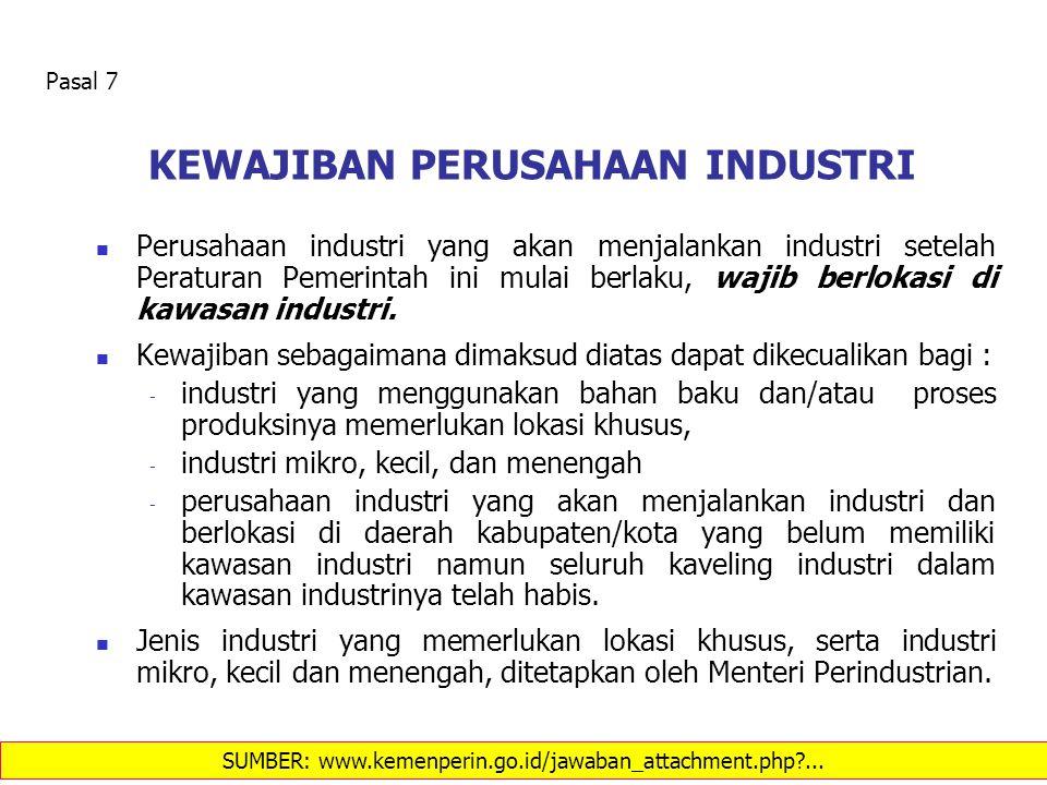 KEWAJIBAN PERUSAHAAN INDUSTRI Perusahaan industri yang akan menjalankan industri setelah Peraturan Pemerintah ini mulai berlaku, wajib berlokasi di ka